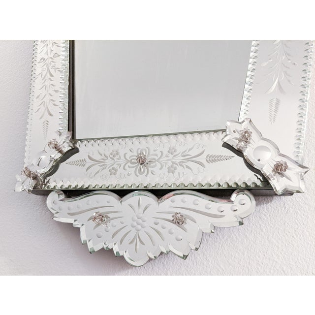 Early 20th Century Vintage Etched Venetian Mirror For Sale In Seattle - Image 6 of 13
