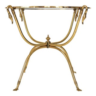 Italian Brass Swan Side Table For Sale