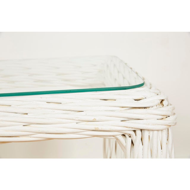 Vintage Thick White Wicker Console Table, 1980s For Sale - Image 11 of 13
