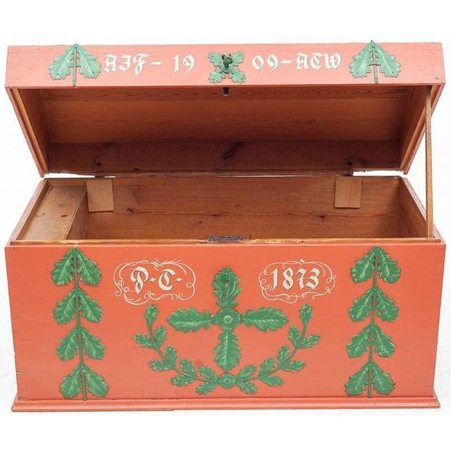 Folk Art 19th Century Swedish Country Painted Wooden Iron Banded Wedding Chest For Sale - Image 3 of 5