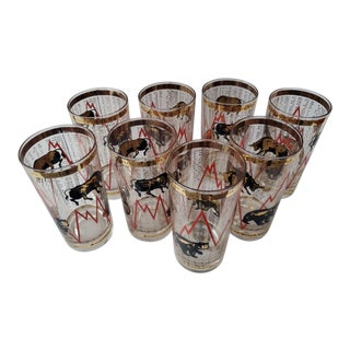 1960's Vintage New York Stock Exchange Glasses - Set of 8 For Sale