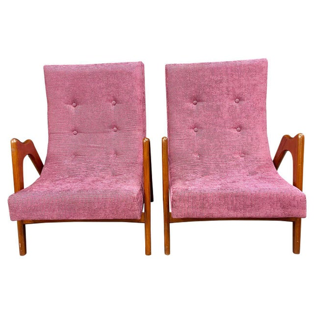 Pair of Newly Upholstered Mid-Century Modern Armchairs For Sale - Image 13 of 13