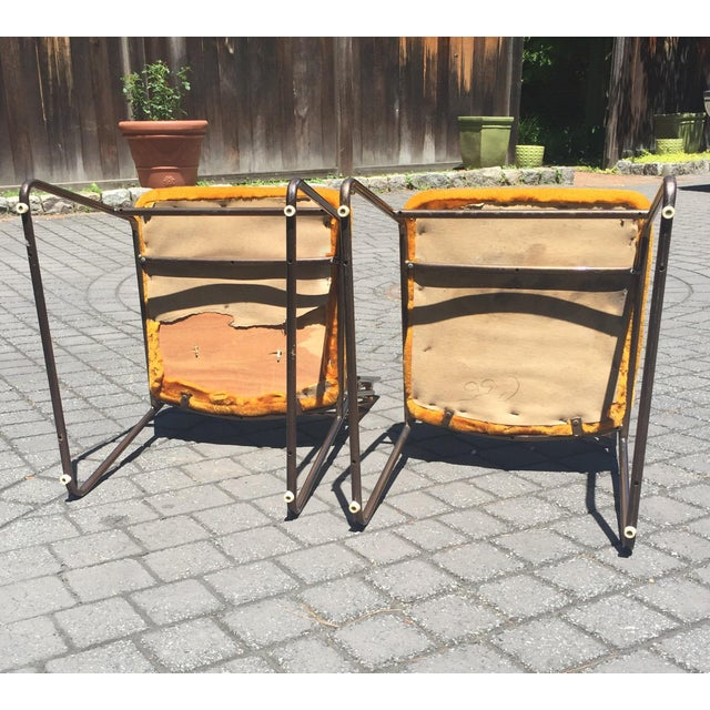 Mid-Century Chrome Craft Amber Lucite & Orange Chairs - A Pair - Image 8 of 10