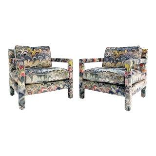 Milo Baughman Style Parsons Chairs in Beata Heuman Marbleized Velvet - a Pair For Sale
