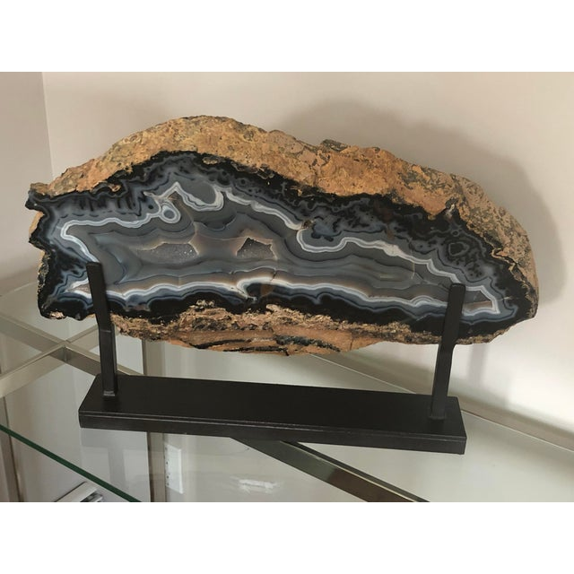 Giant Agate Geode on Stand For Sale - Image 4 of 11