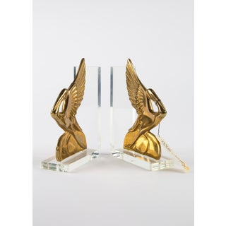 New Old Stock Dolbi Cashier Brass and Lucite Pelican Bookends Preview