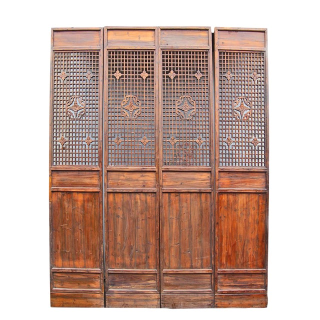 Carved Wood Lattice Screen - Image 1 of 2