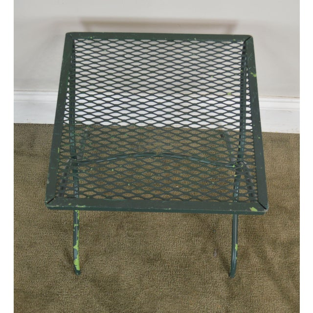 Green Salterini Vintage Expanded Metal Wrought Iron Pair X-Base Patio Side Tables For Sale - Image 8 of 13