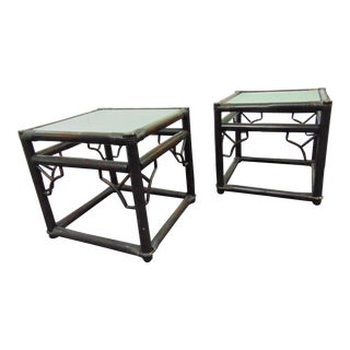 Ficks Reed Chinoiserie Rattan Side Tables - a Pair For Sale