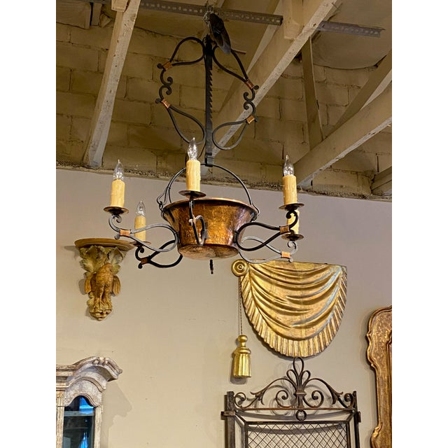 19th Century French Iron and Copper Pot Fixture For Sale In Dallas - Image 6 of 7