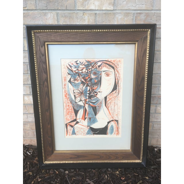 Vintage Mid-Century Richard Zoellner Abstract Woman Flower Lithograph Print For Sale - Image 13 of 13