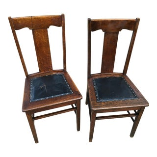 Early 20th Century Heywood and Wakefield Brothers Arts and Crafts Mission Style Side Chairs- A Pair For Sale