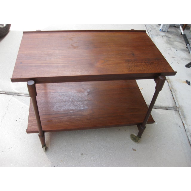 Danish Modern Teak Bar Cart by Poul Hundevad - Image 3 of 6