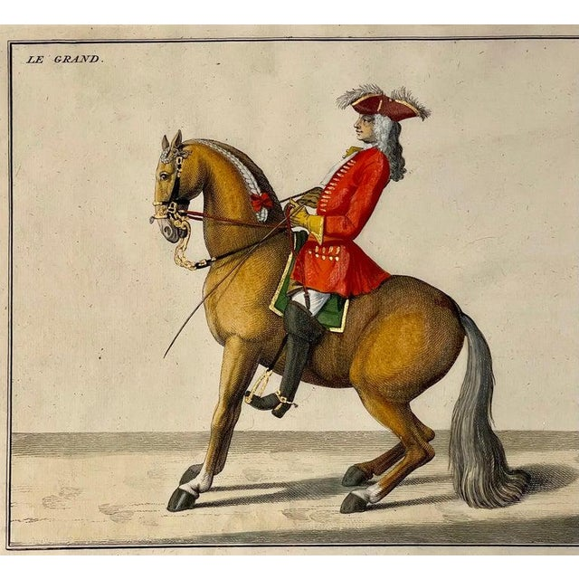 Red Four Engravings of Horse Riders Le Soldat, Le Grand, Le Diligent, L' Enjoue For Sale - Image 8 of 12