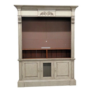 Regency Style Distressed Painted Entertainment Center For Sale