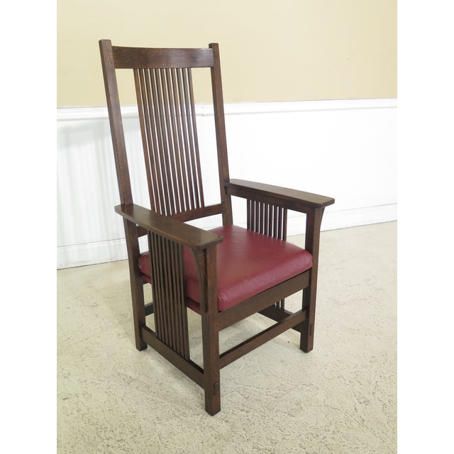 Dining Room High Chairs: 1990s Vintage Stickley Mission Oak High Back Dining Room