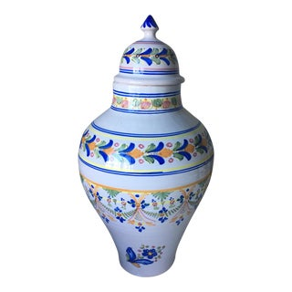 Spanish Talavera De Reina Painted Ceramic Urn For Sale