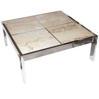 Pace Collection Chrome and Marble Coffee Table For Sale