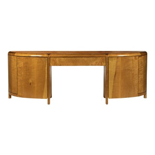 1980s Baker Tiiger Maple Executive Desk by Charles Pfister For Sale