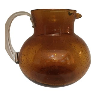 Hand Blown Amber Glass Pitcher For Sale