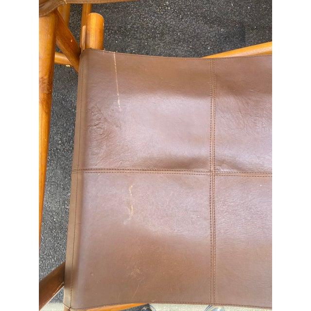 Chestnut Vintage Set of 4 Leather Safari Chairs For Sale - Image 8 of 13