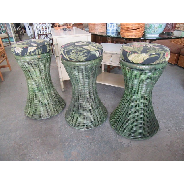 """Tropical Green Woven Swivel Bar Stools. They measure 30"""" H x 14"""" W x14""""D. They are in good as found vintage condition."""