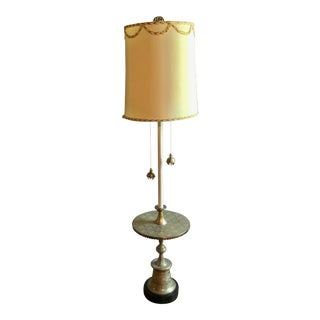 20th Century Hollywood Regency Etched Brass Lamp Table For Sale