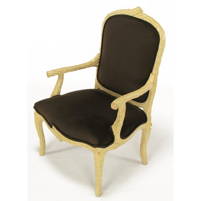 Pair of Faux Bois and Velvet Louis XV Style Fauteuils - Image 7 of 10