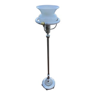 1930s Art Deco Sliver Torchiere and Milk Glass Shade Floor Lamp For Sale