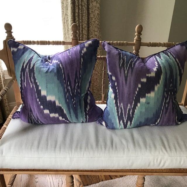 Ikat Butterfly Linen Pillows - A Pair - Image 8 of 9