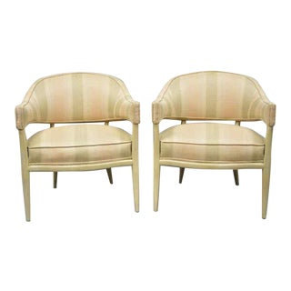 T.H. Robsjohn-Gibbings Style Barrel Back Mahogany Lounge Club Chairs- A Pair For Sale