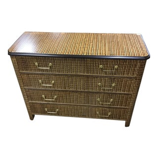 1980s Traditional Baker Furniture Company 4-Drawer Inlaid Chest For Sale