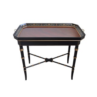 Kindel Varney & Sons Regency Hand Painted Tray Top Tea Table For Sale