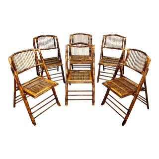 Mid Century Modern Boho Tortoise Bamboo Folding Chairs - Set of 6 For Sale
