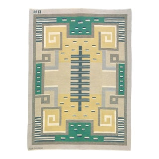 Mid 20th Century Swedish Flat Weave Carpet by Agda Osterberg Rug- 8′11″ × 12′1″ For Sale