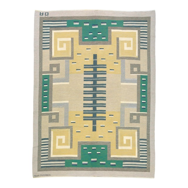 Swedish Flat Weave Carpet by Agda Osterberg Rug- 8′11″ × 12′1″ For Sale