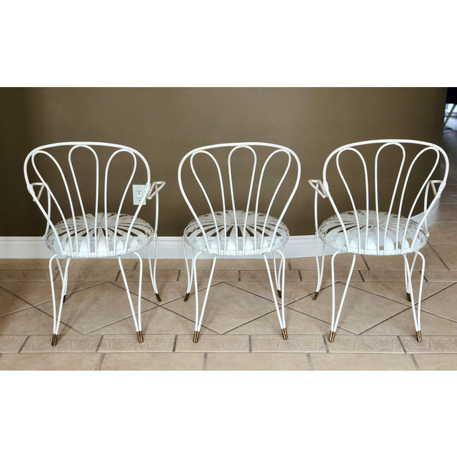 Francois Carre 1930s Vintage French Art Deco Francois Carre White and Gold Sunburst Garden Chairs - Set of 3 For Sale - Image 4 of 10