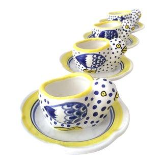Vintage French Quimper Egg Cups - Set of 4 For Sale