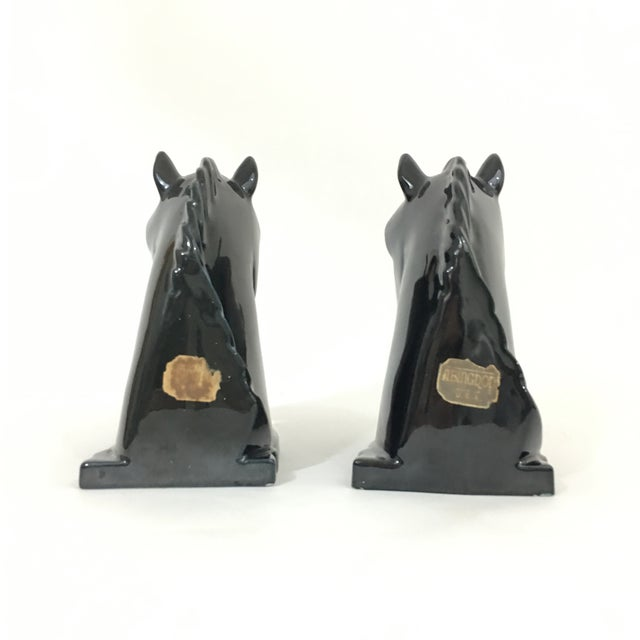 Ceramic Horse Head Bookends For Sale - Image 7 of 8