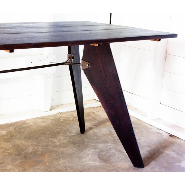 """2010s Mid-Century Handmade Black Dining Utility Table 71"""" For Sale - Image 5 of 12"""