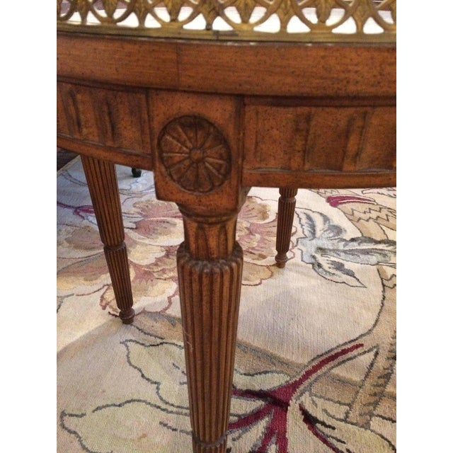 French Carved Wood & Marble Cocktail Side Table - Image 4 of 9