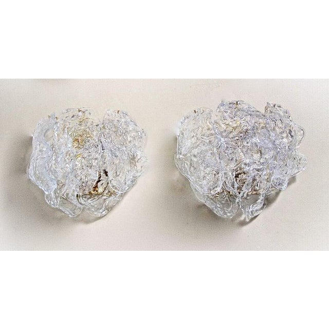 Mid-Century Modern 1960s Italian Murano Clear Textered Curved Glass Sconces - a Pair For Sale - Image 3 of 12