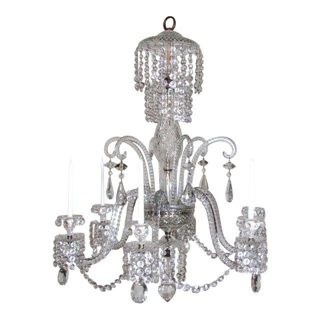 Six Light Large Crystal Chandelier For Sale