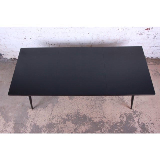 Black 1950s Paul McCobb for Planner Group Ebonized Extension Dining Table & Chairs - Set of 6 For Sale - Image 8 of 13