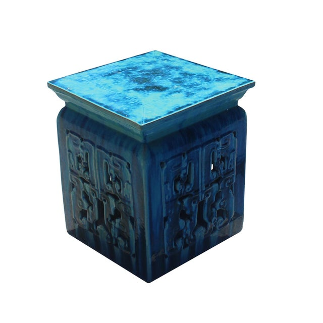 Chinese Ceramic Square Turquoise Blue RuYi Garden Stand Table For Sale - Image 4 of 5