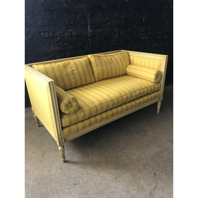 French Bright Yellow & Green Stripe French Directoire Louis XVI Settee Loveseat For Sale - Image 3 of 13