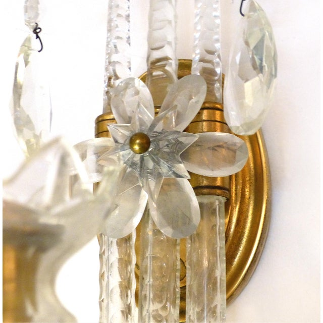 Crystal & Bronze 1940's Three Arm Wall Electrified Wall Sconces - a Pair For Sale In Miami - Image 6 of 9
