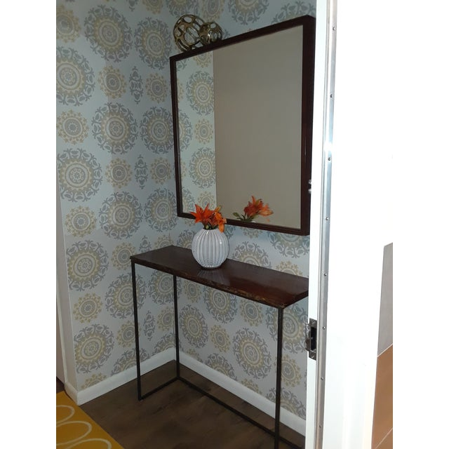 Mid-Century Modern Wood Framed Mirror For Sale - Image 9 of 10