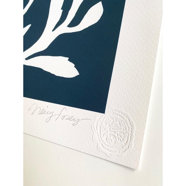 """Navy Blue """"Sunprints"""" Botanical Abstractions Fine Art Giclees - Set of 6 For Sale - Image 8 of 9"""