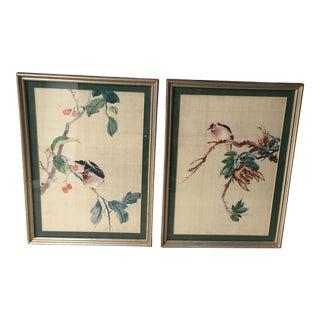 1940s Vintage Handwoven Silk Botanic Bird Textile Art - 2 Pieces For Sale